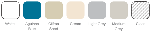 Agulhas Blue, Clifton Sand, Cream, Light Grey, White, Clear and Mid Grey
