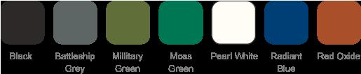 Black, Battleship Grey, Millitary Green, Moss Green, Pearl White, Radiant Blue, Red Oxide